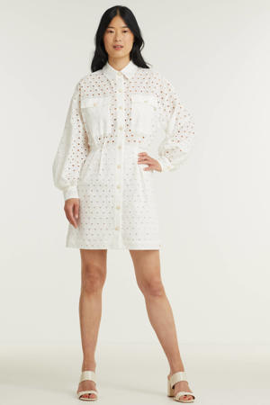 semi-transparante blousejurk Miah met open detail wit