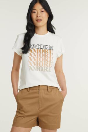T-shirt Dora Amore met tekst gebroken wit