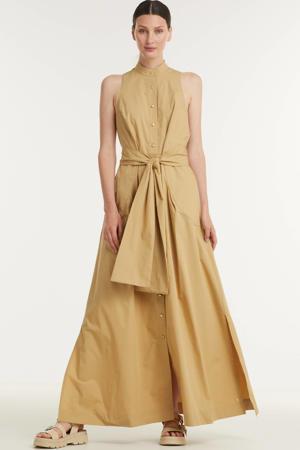 maxi jurk Lavender met ceintuur beige