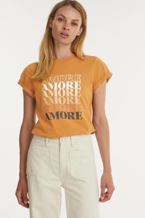 T-shirt Dora Amore met tekst cognac