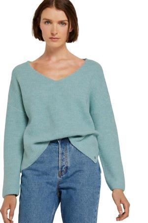 gemêleerde ribgebreide trui lichtblauw