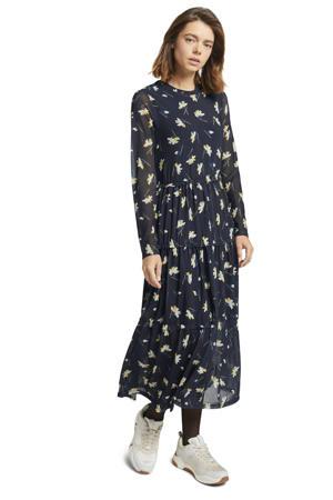 jurk met all over print en ruches donkerblauw/wit/geel