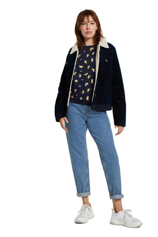 Tom Tailor Denim sweater met all over print en ruches donkerblauw/geel/ecru, Donkerblauw/geel/ecru