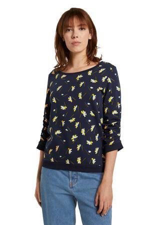 sweater met all over print en ruches donkerblauw/geel/ecru