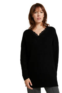 Tom Tailor Denim ribgebreide trui met kant zwart, Zwart