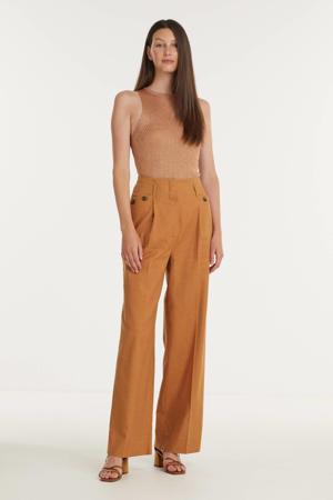 high waist wide leg pantalon Jacklin lichtbruin