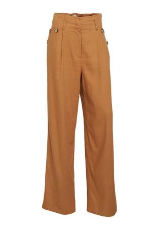 high waist loose fit broek Jacklin lichtbruin