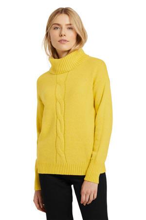 fijngebreide kabeltrui geel