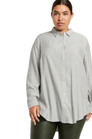 gestreepte blouse wit/lichtgrijs