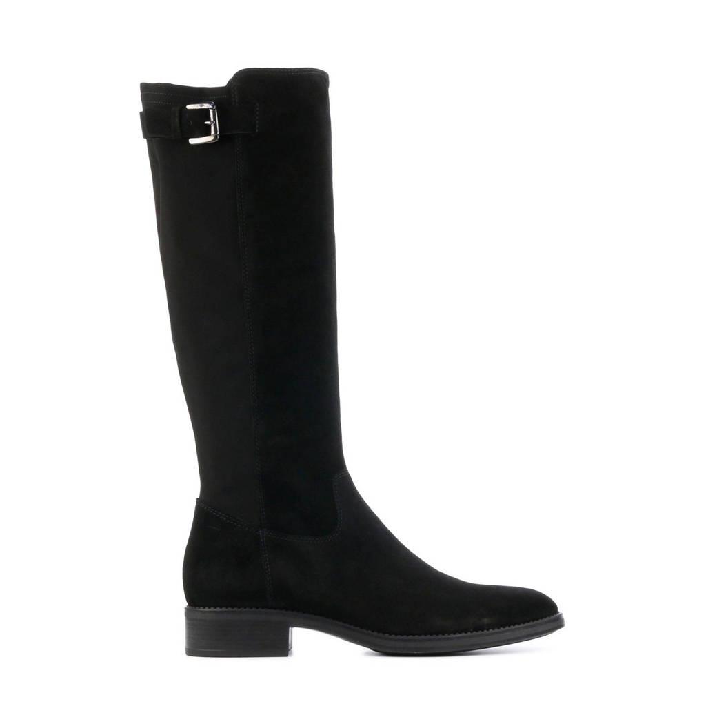 Lamica Pasqualina  suède laarzen met siergesp zwart, Zwart