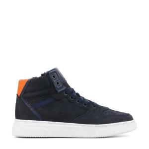 H1969  hoge suède sneakers donkerblauw