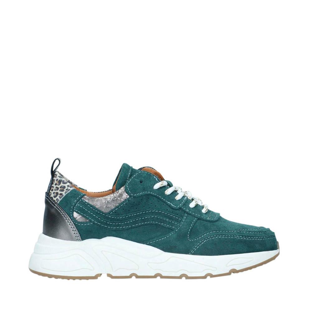 Manfield   suède sneakers zeegroen, Zeegroen/Zilver