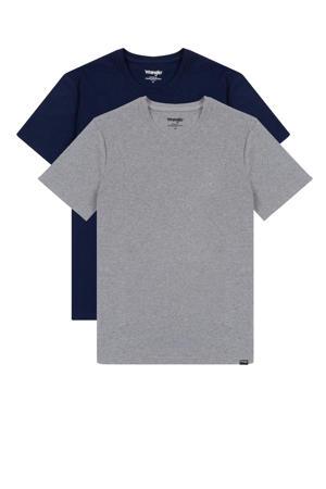 T-shirt (set van 2) donkerblauw/grijs