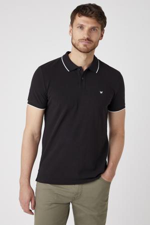 slim fit polo met contrastbies zwart