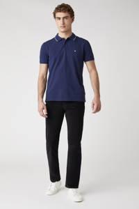 Wrangler regular fit polo met contrastbies donkerblauw, Donkerblauw