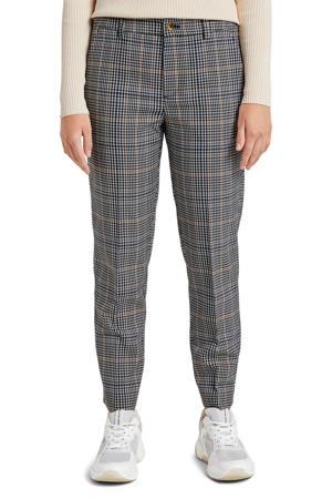 geruite straight fit broek zwart/wit/bruin