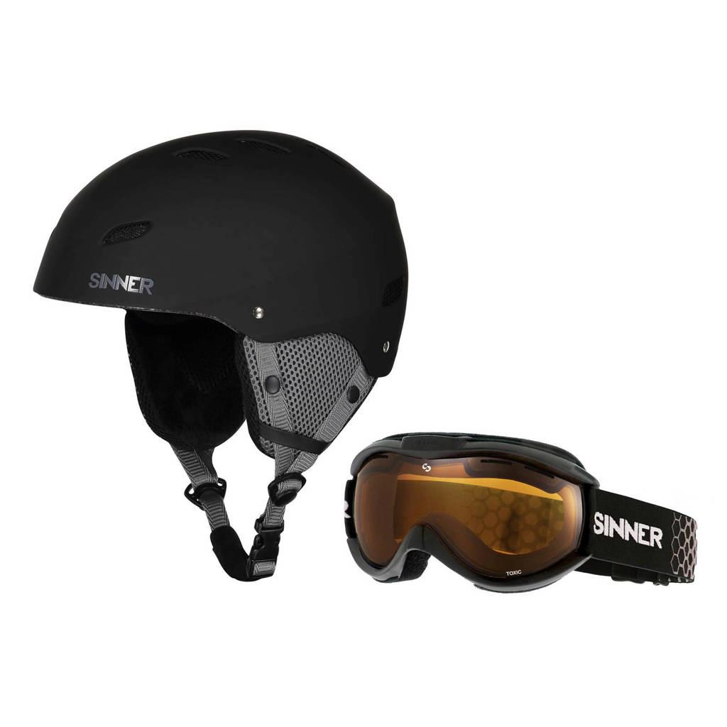 Sinner Jongens/meisjes skihelm en skibril Bingham & Toxic mat zwart, Mat zwart