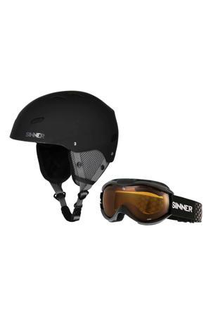 Jongens/meisjes skihelm en skibril Bingham & Toxic mat zwart