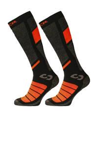 Sinner ski sokken Pro Socks grijs/zwart/oranje (set van 2 paar), Grijs/zwart/oranje