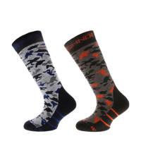 Sinner ski sokken  grijs/zwart/bruin/rood, Grijs/zwart/bruin/rood