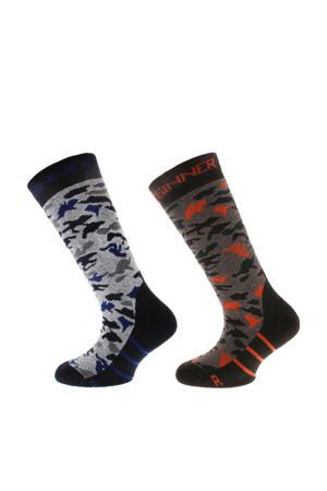 ski sokken  grijs/zwart/bruin/rood