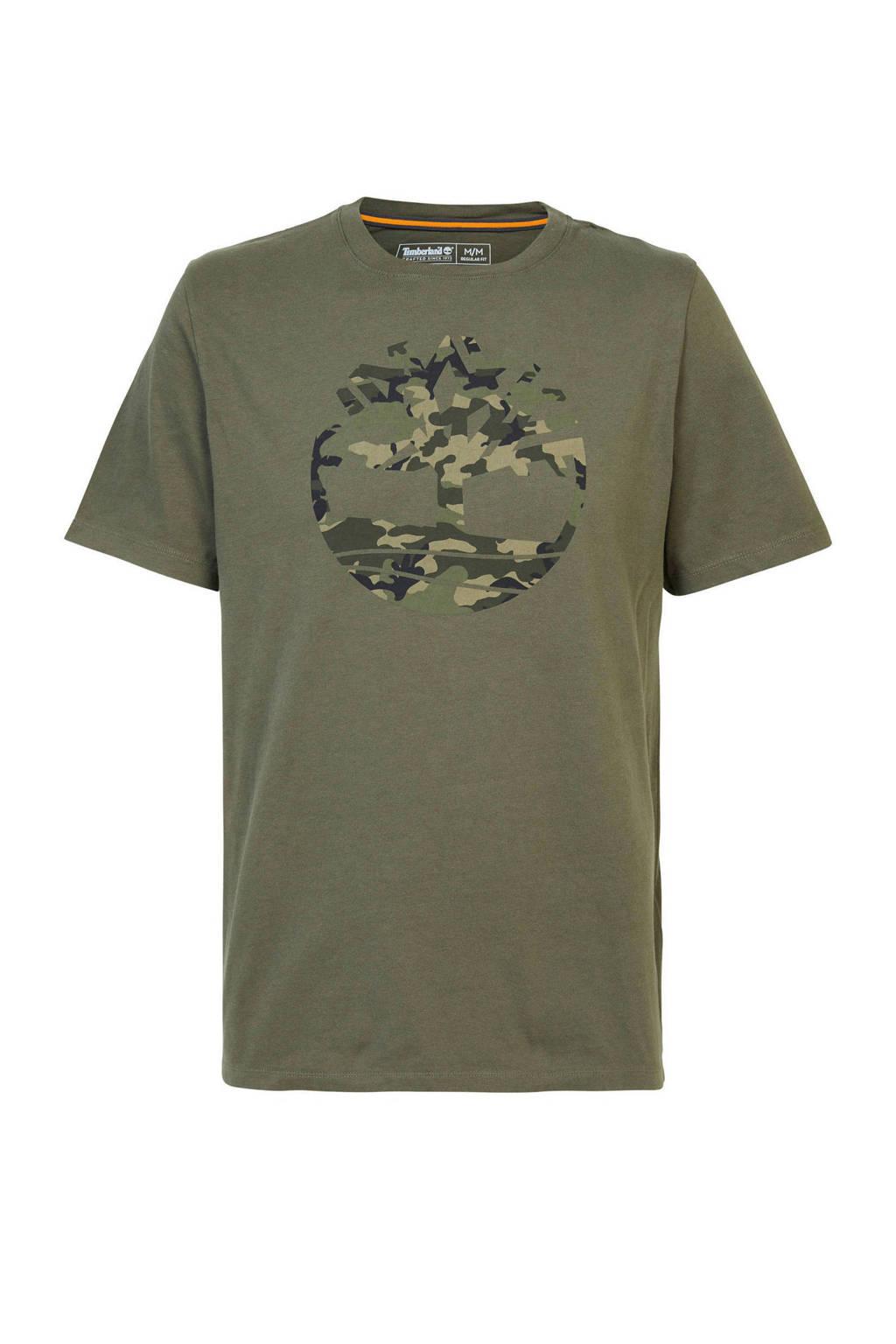 Timberland Timberland T-shirt met logo groen, Donkergroen