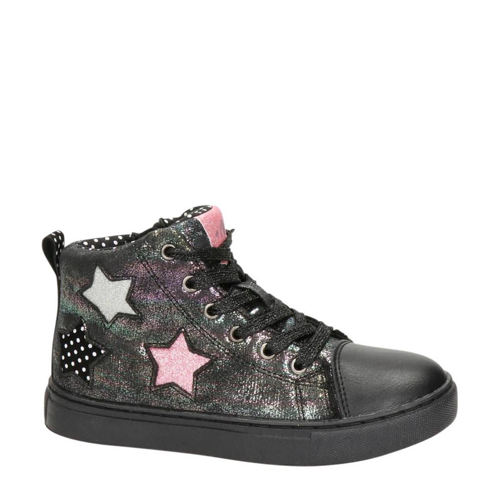 Nelson Kids   hoge sneakers met sterren metallic/zwart, Zwart