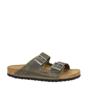 Arizona  leren slippers kaki