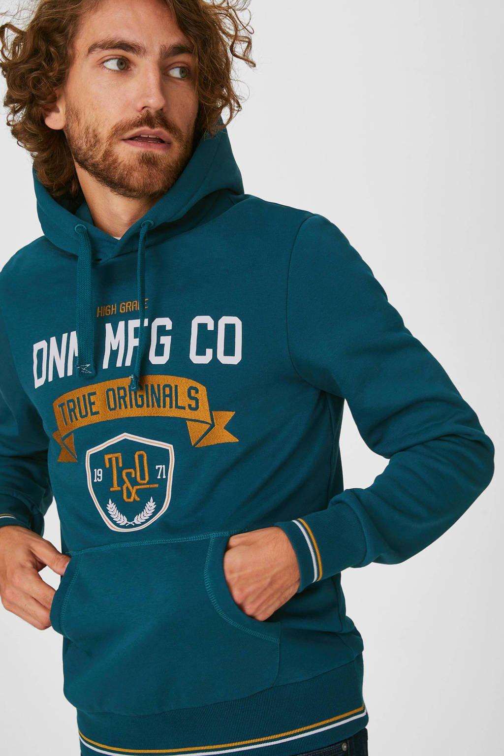 C&A Angelo Litrico hoodie met tekst petrol, Reflecting Pond