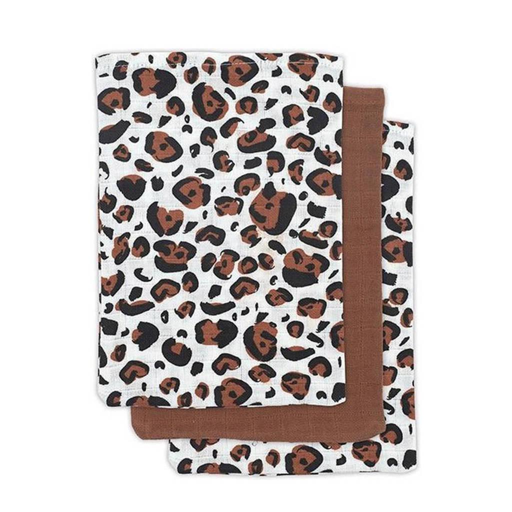Jollein hydrofiel washandje Leopard natural - set van 3 15x20 cm bruin, Bruin/beige/zwart