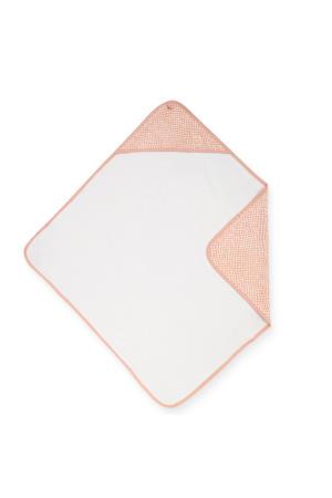 badstoffen badcape 75x75cm lichtroze/wit