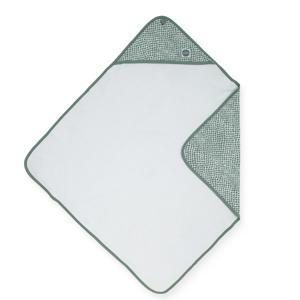 badstoffen badcape 75x75cm grijsgroen/wit