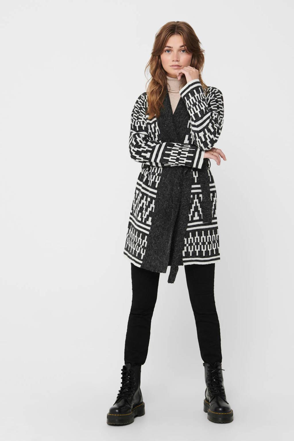 ONLY vest met grafische print en ceintuur zwart, Zwart