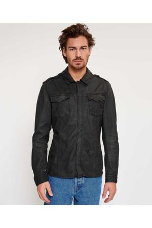 leren jas/overshirt zwart
