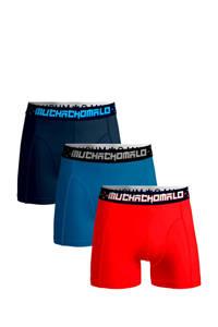 Muchachomalo Junior  boxershort Solid - set van 3 rood/blauw/donkerblauw, Rood/blauw/donkerblauw