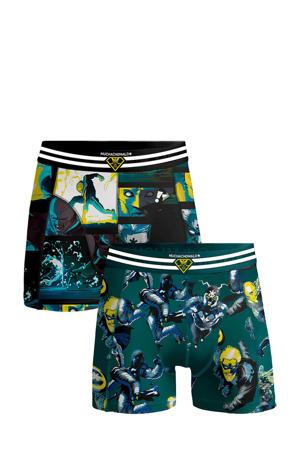 Junior  boxershort Casino Comic - set van 2 groen/donkerblauw