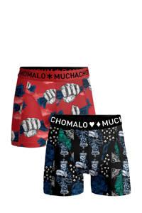 Muchachomalo Junior  boxershort Money&Gamble - set van 2 rood/donkerblauw, Rood/donkerblauw