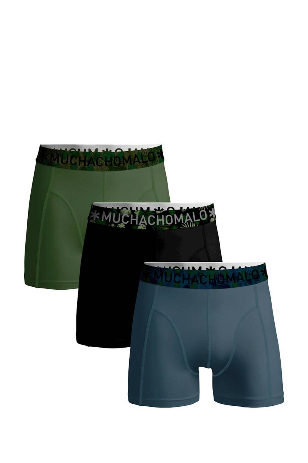 Muchachomalo Junior  boxershort Solid - set van 3 blauw/zwart/armygroen, Blauw/zwart/army groen