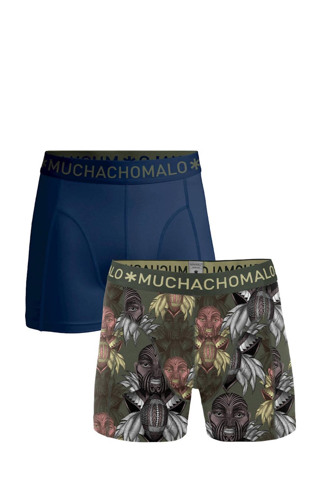 Muchachomalo   boxershort King Maori - set van 2, Donkerblauw/groen