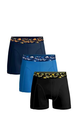 boxershort Solid - set van 3 zwart/blauw/d.blauw