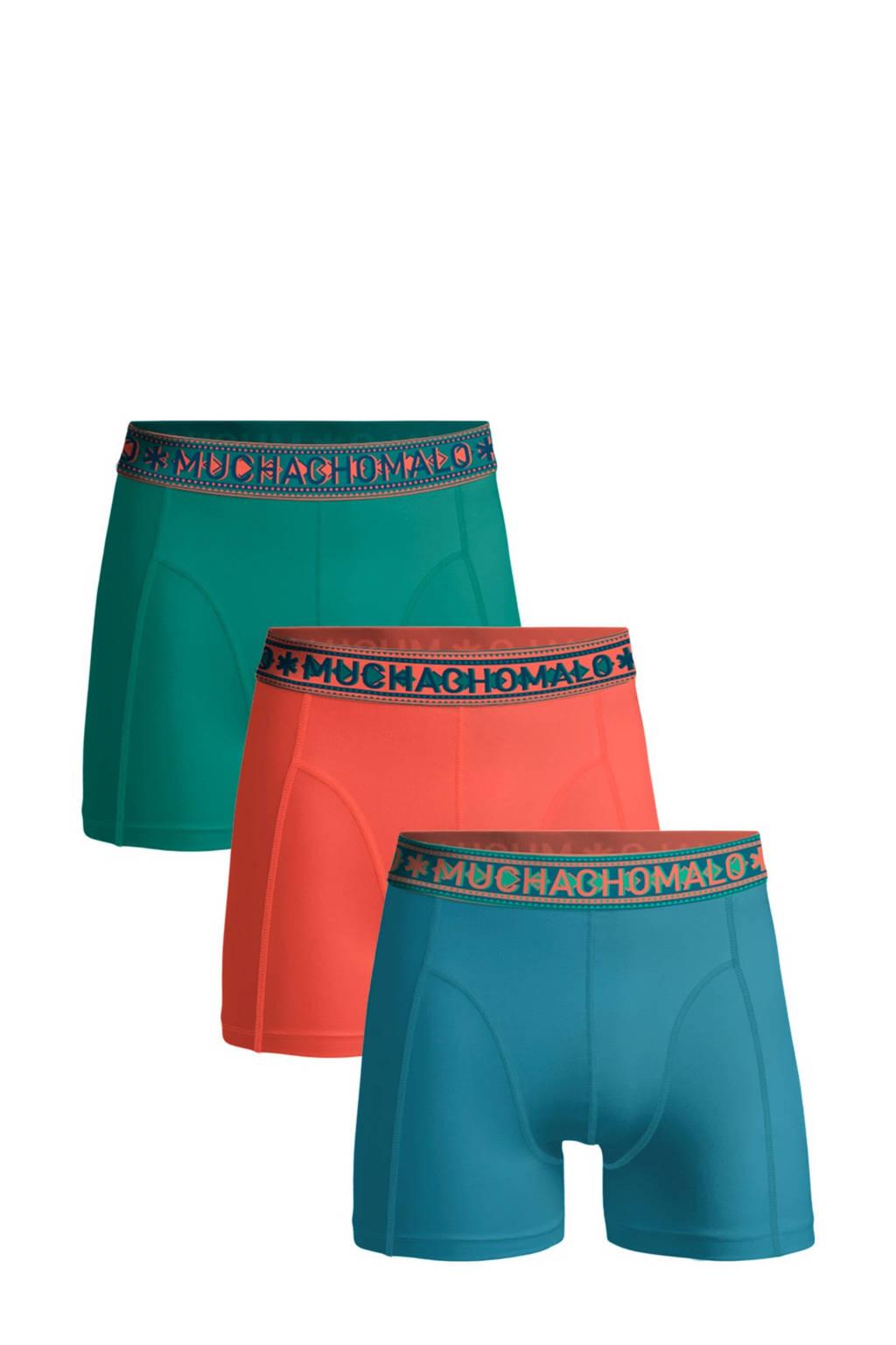 Muchachomalo   boxershort Solid - set van 3 blauw/koraalrood/groen, Blauw/koraalrood/groen