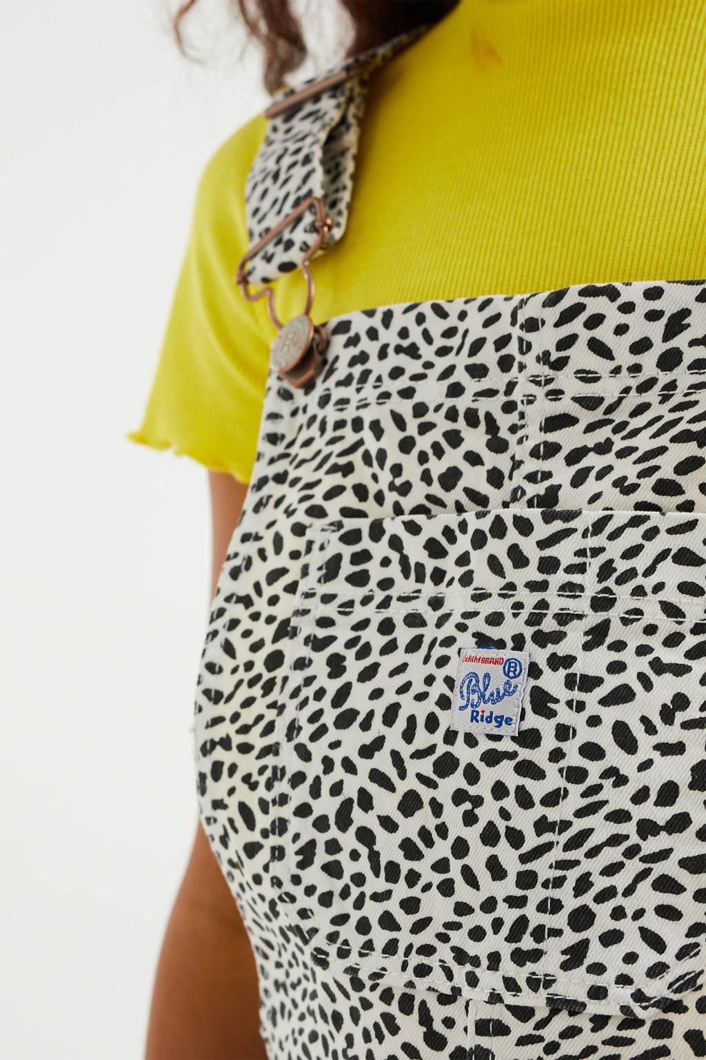 WE Fashion Blue Ridge slim fit tuinbroek met all over print beige/zwart, Beige/zwart