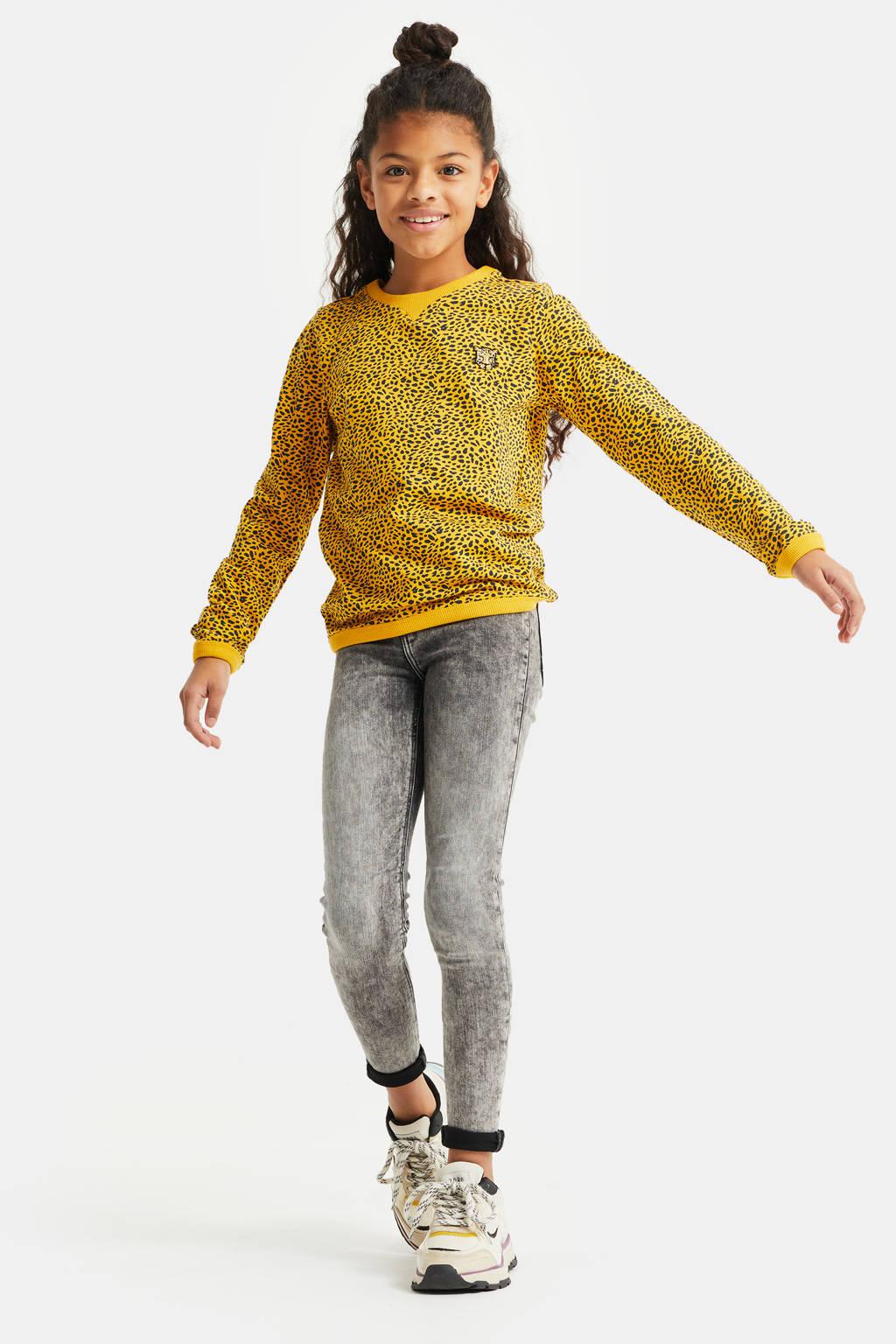 WE Fashion sweater met all over print en borduursels geel/zwart, Geel/zwart