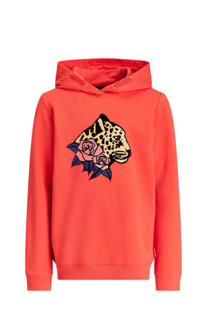 hoodie met printopdruk en glitters roodoranje/bruin/zwart