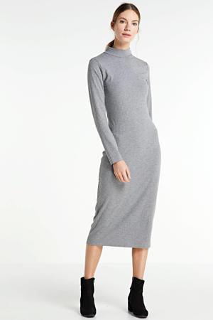 gemêleerde midi jurk grijs