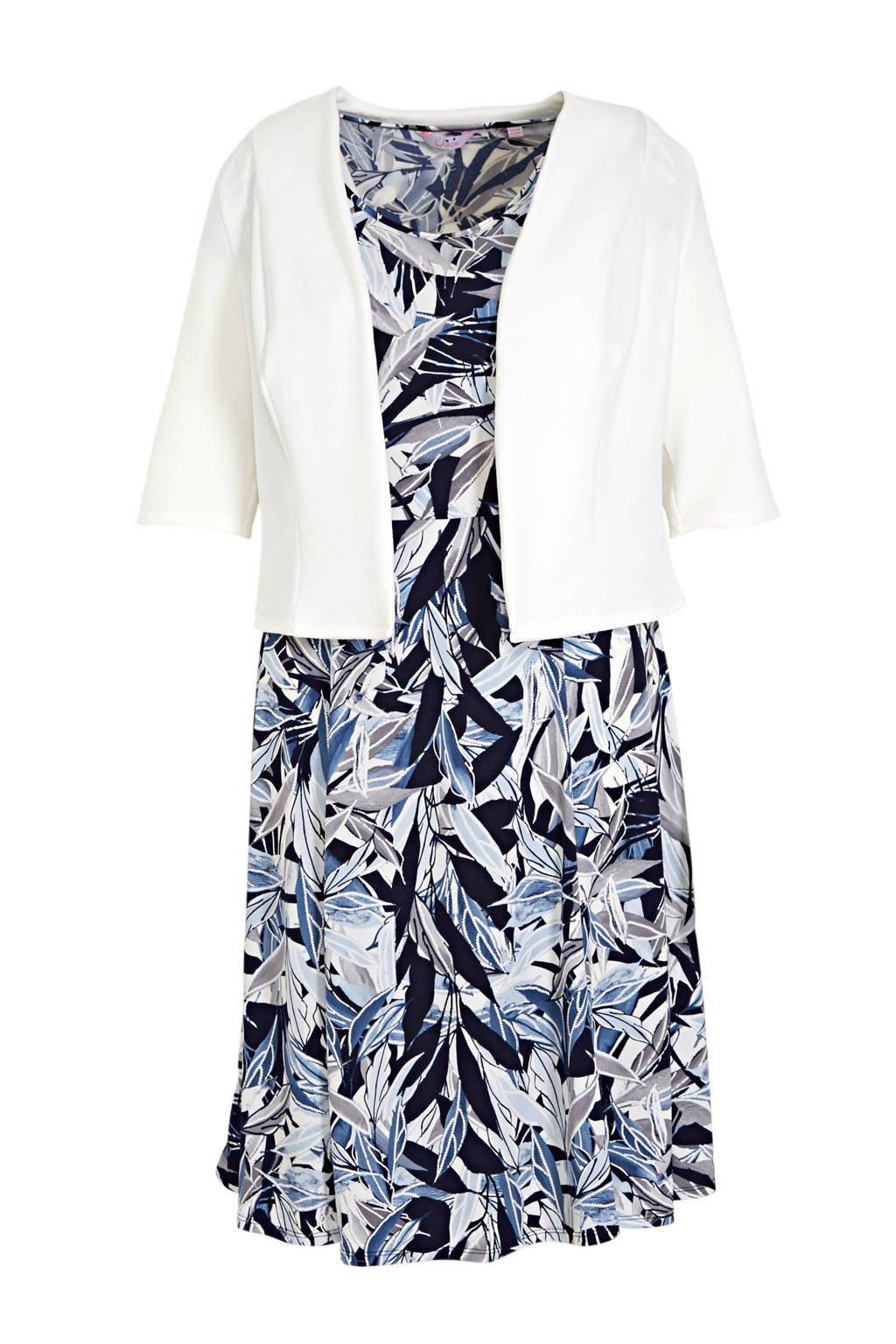 Julipa jurk + jasje donkerblauw/wit, Donkerblauw/wit