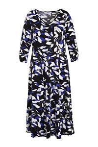 Julipa jurk met all over print en ruches donkerblauw/blauw/wit, Donkerblauw/blauw/wit