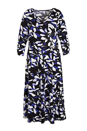 jurk met all over print en ruches donkerblauw/blauw/wit