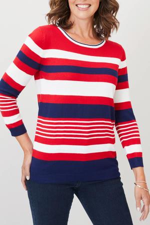 gestreepte fijngebreide trui rood/wit/donkerblauw