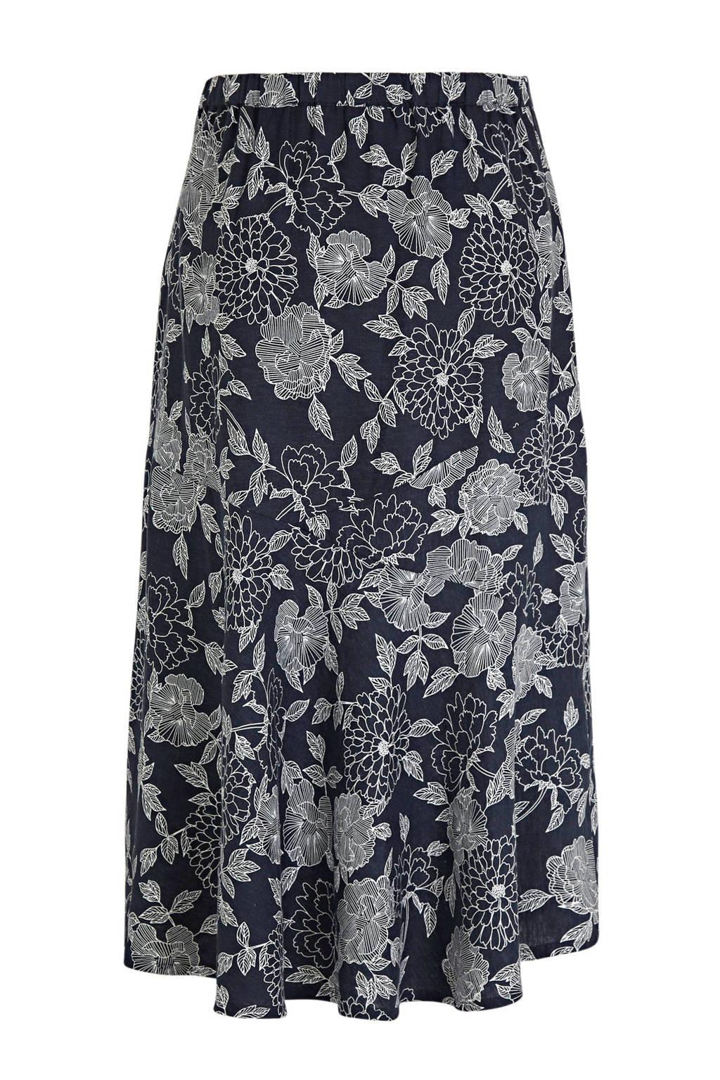 Julipa gebloemde rok donkerblauw/wit, Donkerblauw/wit